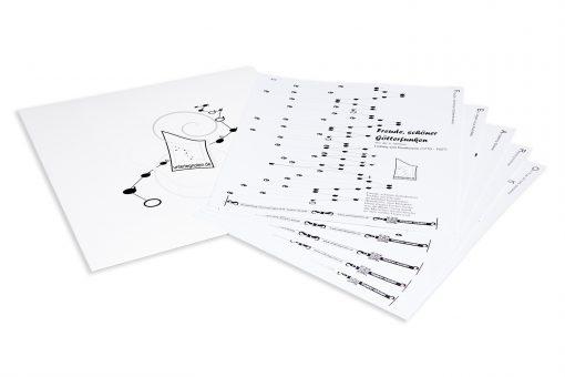 10 Noten zum Selbst-Zusammenstellen für Tischharfe mit 21 Saiten